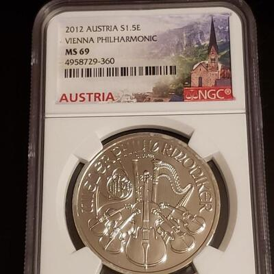 2012  Austria  1$ 5E Viena Philhaomonic MS 69