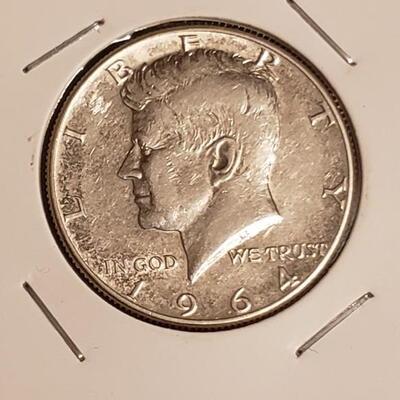 90 % Silver 1964 AU kennedy half dollar