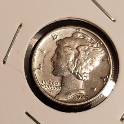 Rare Error 1942 P Mercury dime AU