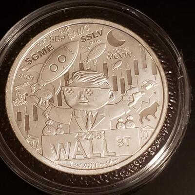 Unique 1 oz silver  Wall ST  silver round encapsulated bu