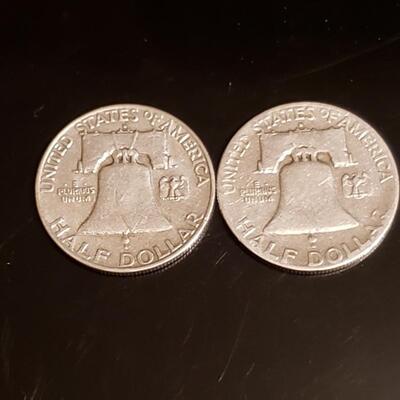 2 Franklin silver half dollars