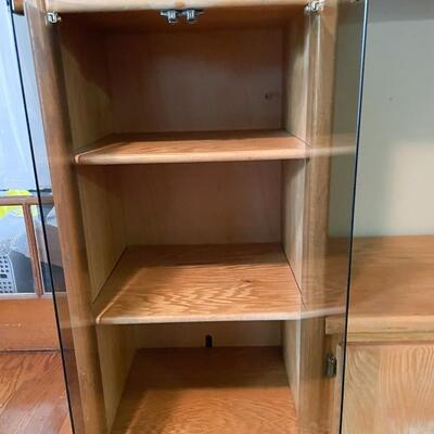 SOLID WOOD ENTERTAINMENT CENTER W/ GLASS DOORS