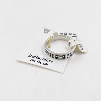 STERLING SILVER MEN'S RING - SIZE 10