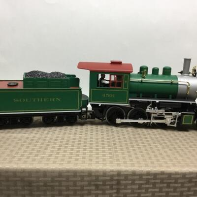 G scale Southern Railroad 2-6-0 Steam Locomotive and Tender.