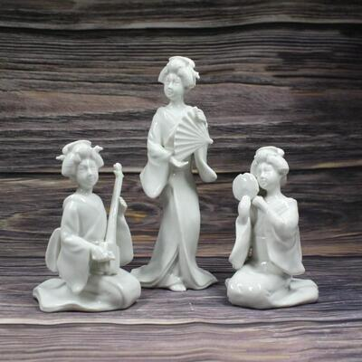 Vintage Set of 3 Fitz and Floyd Porcelain Asian Geisha Musician Figurines