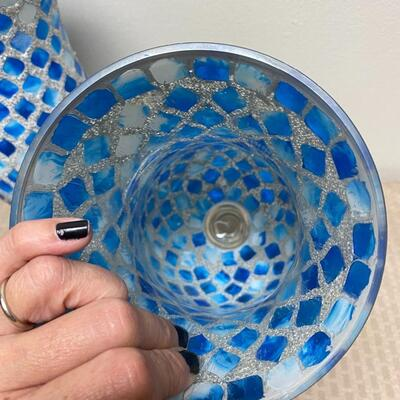 Pair of Mosaic Blue Hurricane Lamp Candle Holders & Blue Battery Op Gazing Ball
