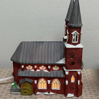 Pair of Dept 56 Light Up Christmas Holiday Church Buildings