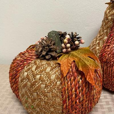 Rustic Autumn Fall Burlap Twine Rope Finish Pumpkin Set