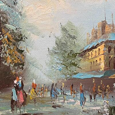 Small Vintage Cityscape Painting