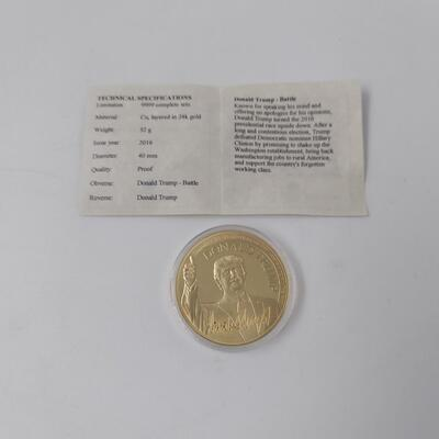 DONALD TRUMP CU LAYERED IN 24K GOLD COLLECTABLE COIN