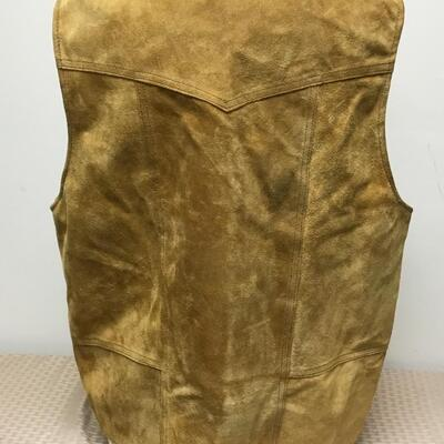 Vintage Tan Suede Laether Button Front Vest Zamher Size Large