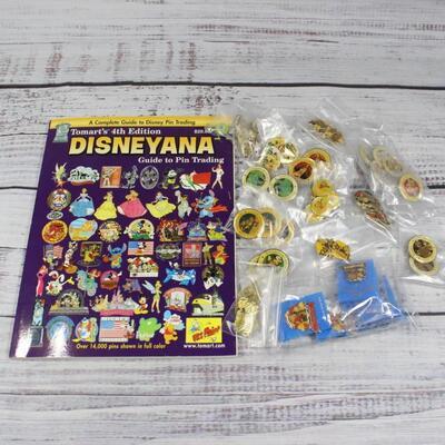 Vintage Collectible Disney Disneyland Collector Enamel Pin & Book Lot