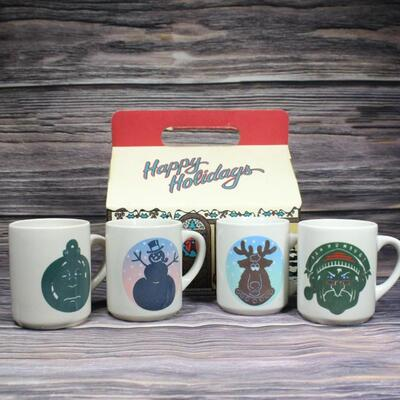 Vintage Set of Denny's Christmas Magic Changing Color Mugs in Original Box