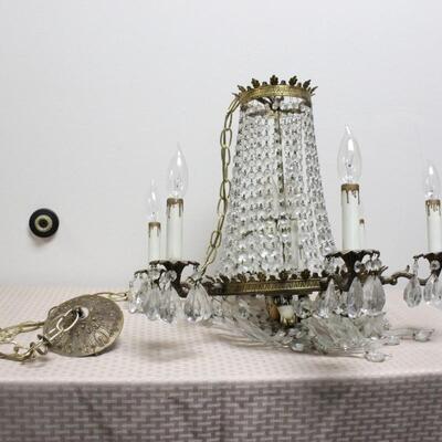 Vintage Hollywood Regency Crystal Wired Chandelier Hanging Light