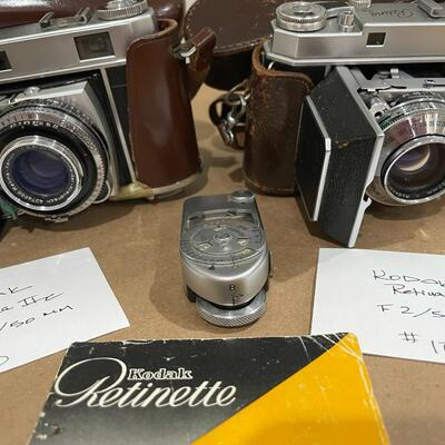 Kodak Retina Series IIa & IIc with accessories & leather cases