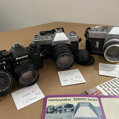 Mamiya Sekar Cameras - E,  DSX 1000, 1000 DTL with accessories