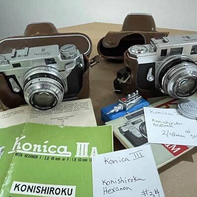 Konica III and Konica IIIa with accessories