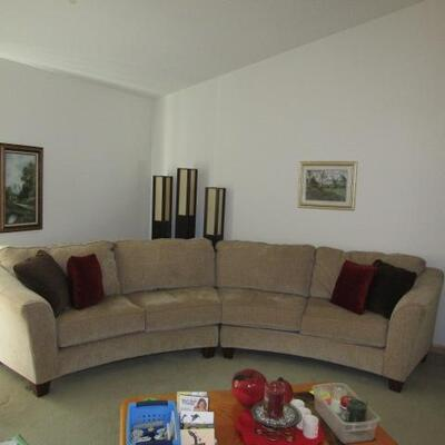 LOT 1  TWO PIECE CURVED SOFA