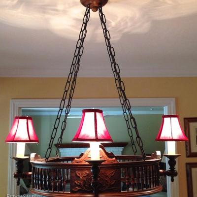 One-of-a-kind Antique Hand Carved Wood Chandelier Converted From Ga