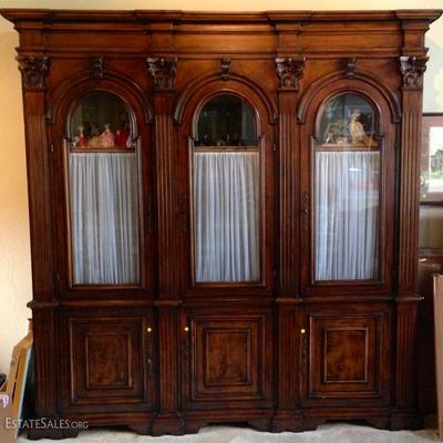 Unique Antique Hand Carved Display Cabinet With Arched Glass Doors with key locks
