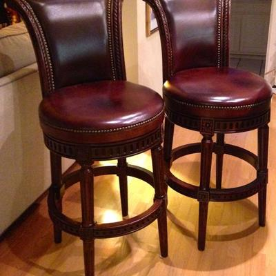 Pair of Solid Wood & Leather Swivel Bar Stools With Nailhead Trim. MINT!