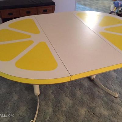 Vintage Pop Art Lemon Table with leaf