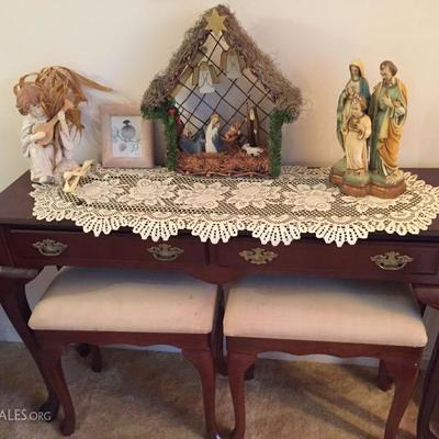 Sideboard with benches and Christmas decor