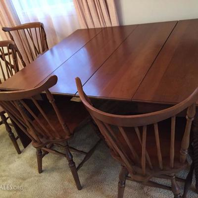 Large Drop Leaf Table with two leaves and four chairs