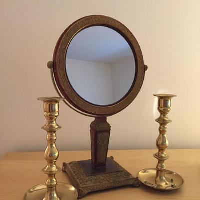 Standing Mirror and Candlesticks