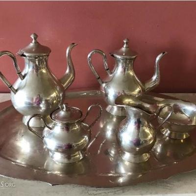 Colombian 900 silver tea set on tray