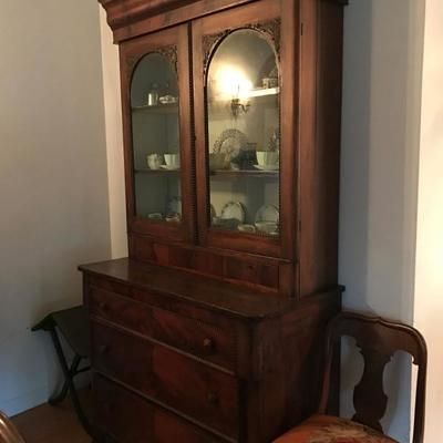 1839s Empire burled mahogany china cupboard