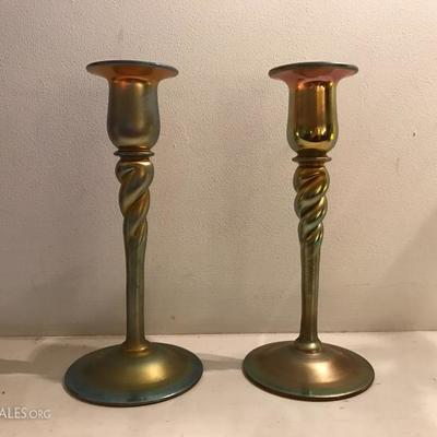 Steuben Aurene twirl pair of candlesticks candleholders