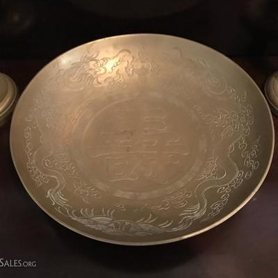 1890s Chinese brass bowl, dragon motif