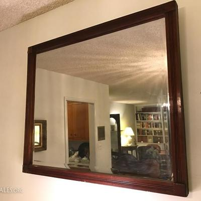 Antique framed beveled mirror