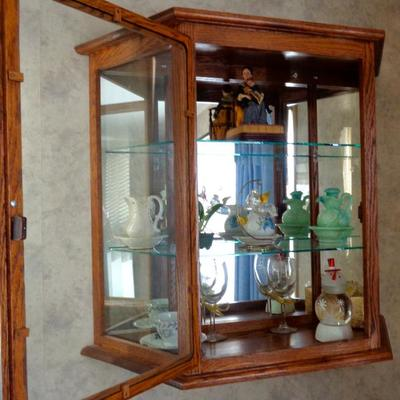 (2) Solid Oak Wall Mounted Curio Cabinet with Shelving.