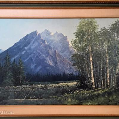 Ray Swanson oil painting of the Teton Moutains.  Available for presale, asking price $12,000.00