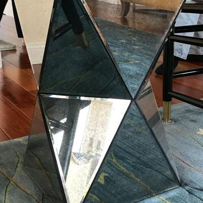Modern geometric mirrored side table