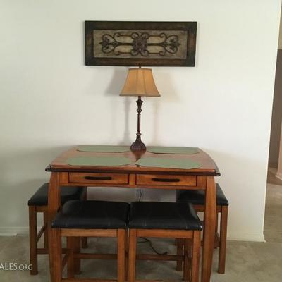 Bistro table with 4 stools