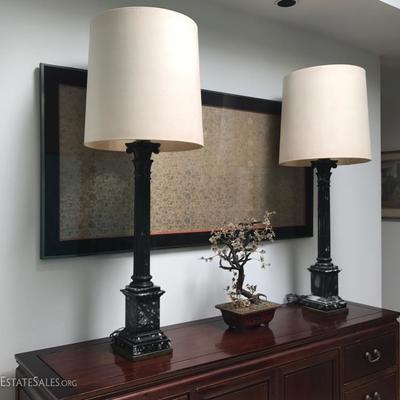 Exceptionally tall banquet / table lamps, black marble