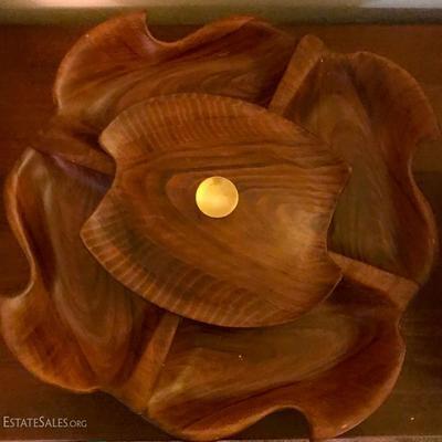 Mid-century CA Original USA Ceramic wood grain lazy Susan set