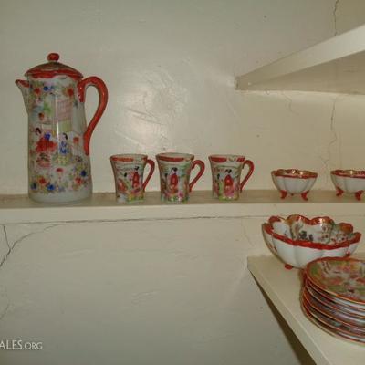 antique asian hot chocolate set