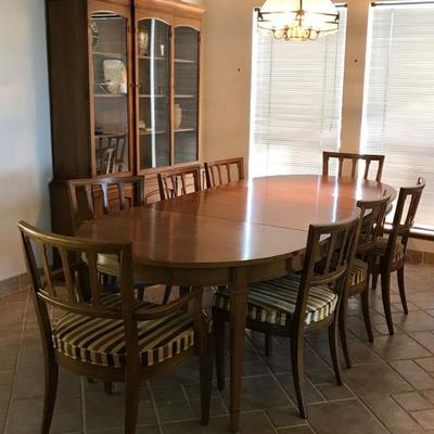 Tribune By DREXEL Dining Set; Table W/3 Leaves, 8 Chairs With Crushed Velvet Striped Upholstery, China Display Cabinet. Excellent...