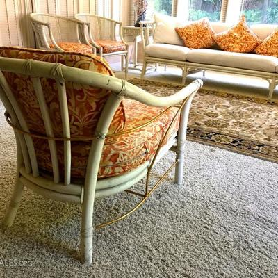 High-End McGUIRE San Francisco Quality Made Rattan Set; Sofa And 4 Chairs With Custom Cushions