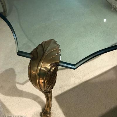Vintage High-End LABARGE Brass & Thick Beveled Glass Hollywood Regency Cocktail Table.