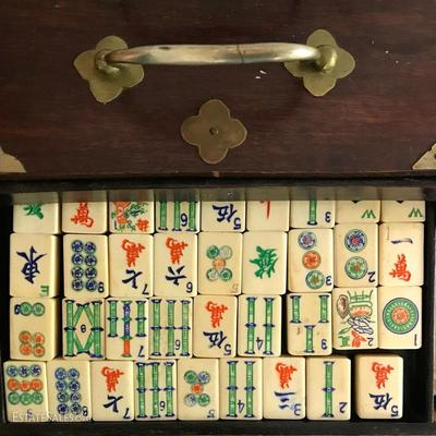 (2 sets Available) Antique MAHJONG Game Set, 50/50% Bone on Bamboo Dove tail Tiles. Very Nice Etched Artwork.