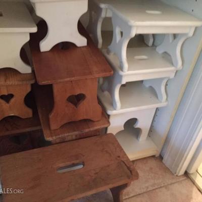 Handmade foot stools.