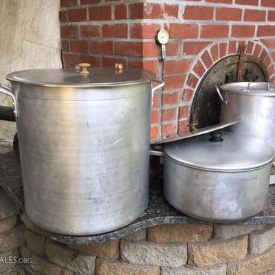 Large cooking pots.