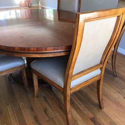 Single Pedestal Dining Table With 6 Leather Upholstered Chairs