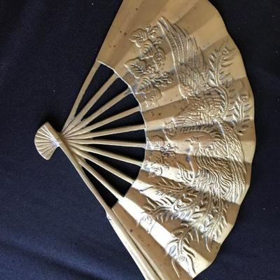 Vintage solid brass hand fan with embossed dragon