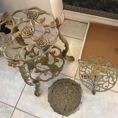 Elaborate vintage brass plant stands. Various heights.